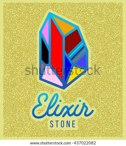 Elixir stone logo. Vector symbol of magic elixir. Textured sing on yellow background. Great for t-shirt print design or poster.
