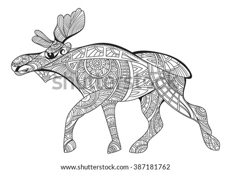 Elk. Decorative elk. Black and white drawing elk pattern. Coloring page for adults, antistress. Ethnic patterned vector. Art therapy for adults. Doodle and zentangle. Vector - stock vector