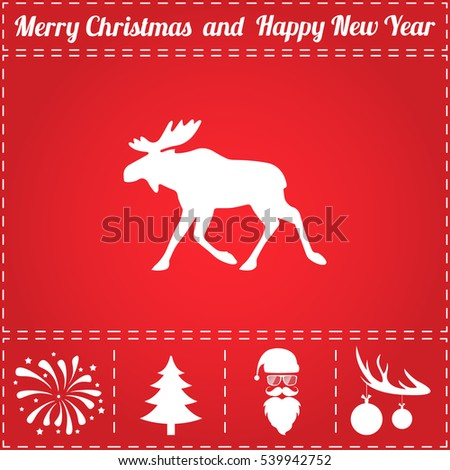 Elk Icon Vector. And bonus symbol for New Year - Santa Claus, Christmas Tree, Firework, Balls on deer antlers