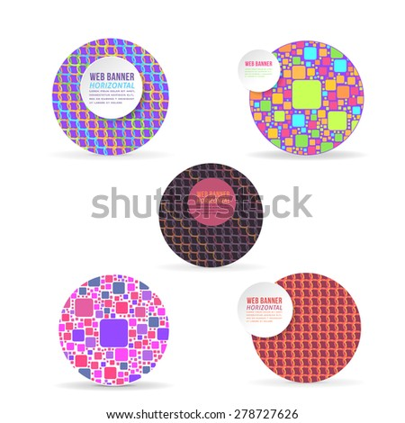 Ellipse Frame in Multicolor Elements Flat Website Banner Design Template  - stock vector