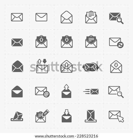 Email and envelope icons on White Background. - stock vector