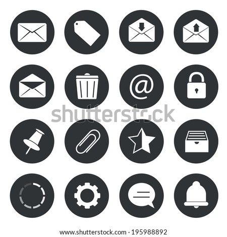 Email circle icons - stock vector