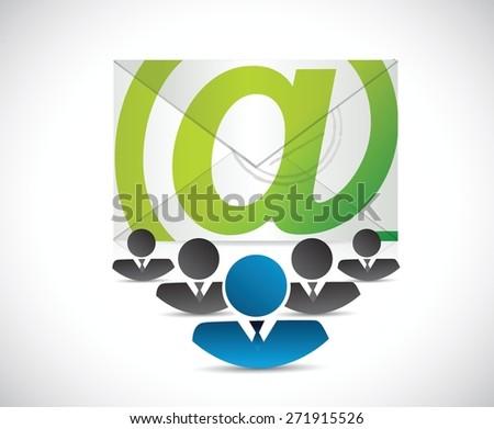 email correspondence business team illustration design over white background - stock vector