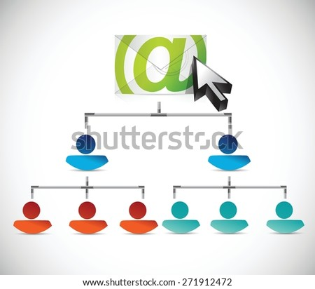 email correspondence people conceptual map illustration design over white background - stock vector