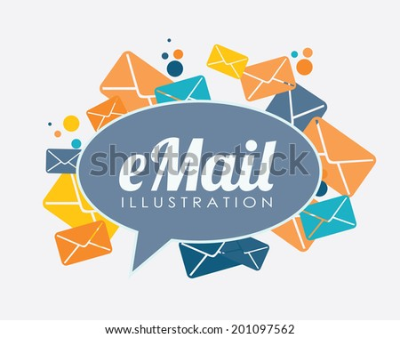 Email design over white background, vector illustration - stock vector