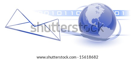 Email, Electronic Communications World Wide Web Internet Concept, with a globe, envelope, and binary pattern in background.