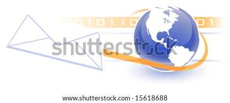 Email, Electronic Communications World Wide Web Internet Concept, with orange lines of motion, binary numbers, etc.