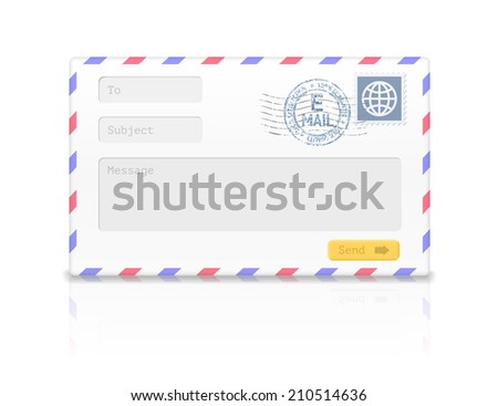 Email envelope with postal stamp isolated on white background. Vector illustration - stock vector