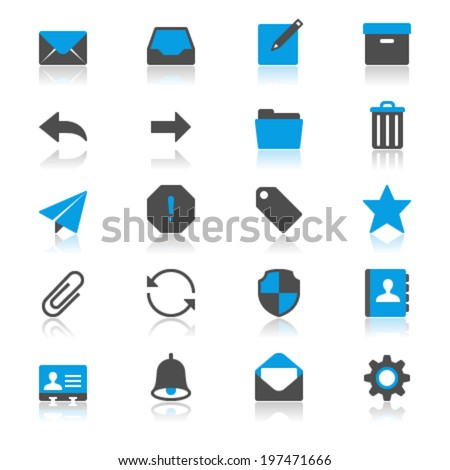Email flat with reflection icons - stock vector