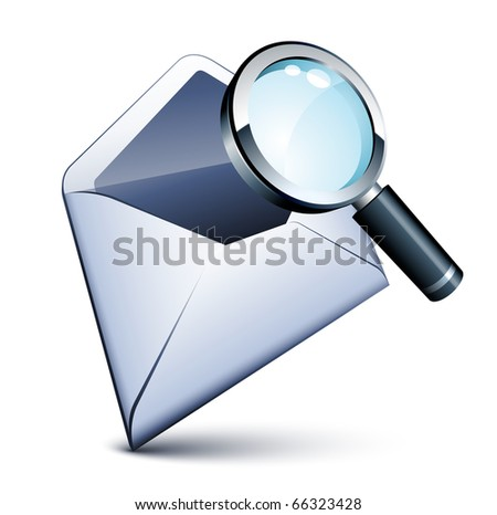 Email icon and magnifying glass