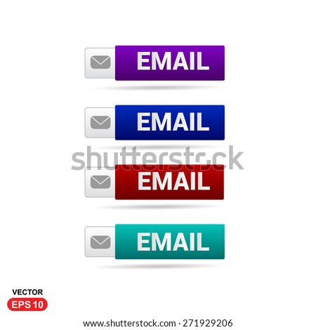 Email Icon Button. Abstract beautiful text button with icon. Purple Button, Blue Button, Red Button, Green Button, Turquoise button. web design element. Call to action gray icon button - stock vector