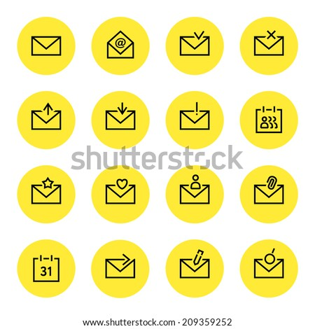 Email icon set - stock vector