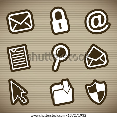 email icons over brown background. vector illustration - stock vector