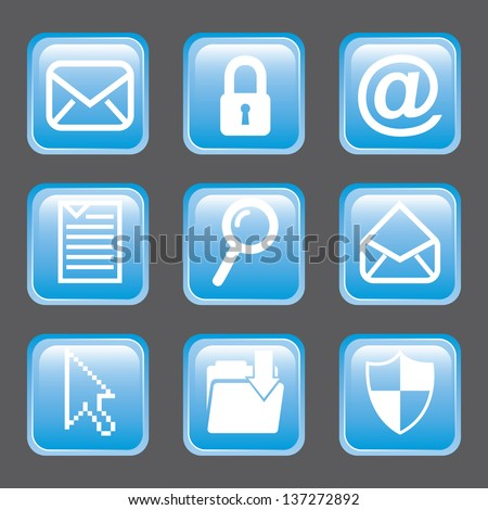 email icons over gray background. vector illustration - stock vector