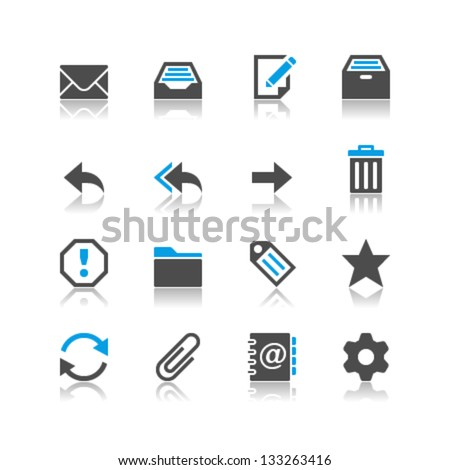 Email icons reflection theme - stock vector