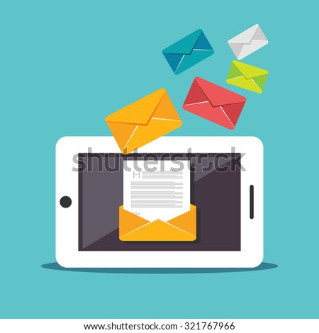 Email illustration. Digital Marketing. Sending or receiving email concept illustration. flat design. Email marketing. Broadcast email.  - stock vector
