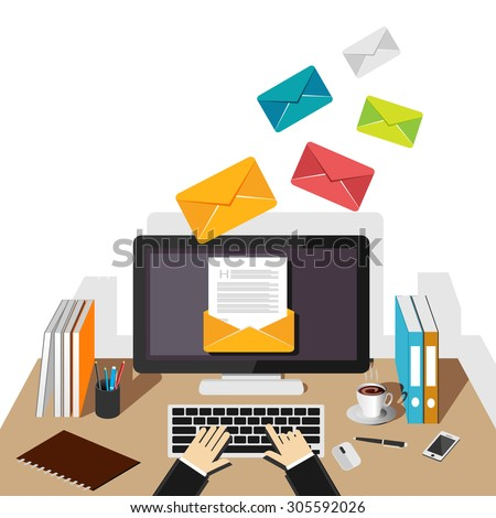 Email illustration. Sending or receiving email concept illustration. flat design. Email marketing. Broadcast email.  - stock vector