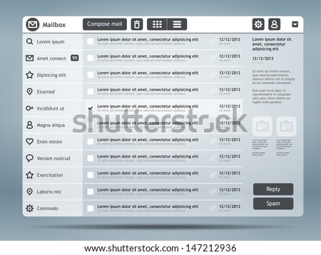 Email interface. Website design template. Eps 10 - stock vector