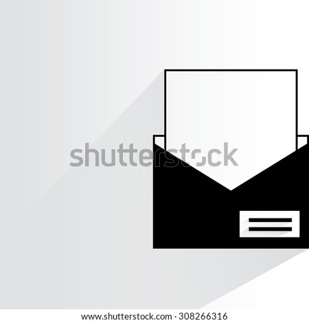 email letter on white background, flat and drop shadow theme - stock vector