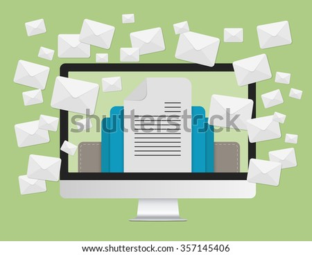 Email marketing concept and a lot of envelopes messages in laptop computer screen. - stock vector