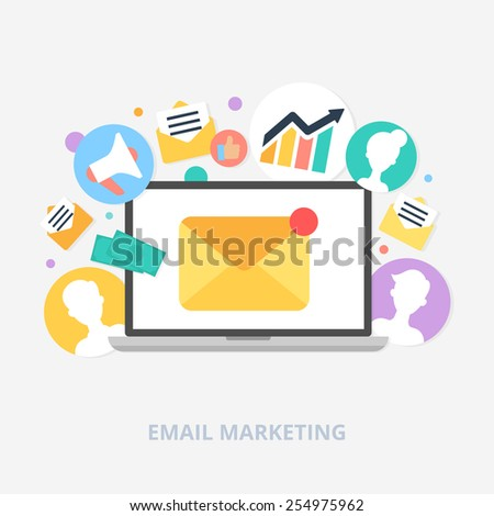 Email marketing concept vector illustration, flat style - stock vector
