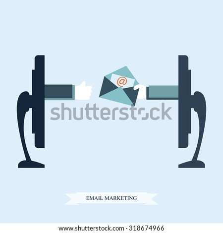 Email marketing conceptual, Hand from a monitor screen holding e-mail letter, Vector illustration. - stock vector
