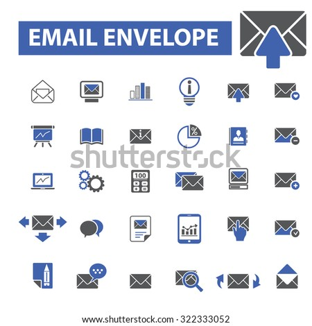 email marketing, envelope icons - stock vector