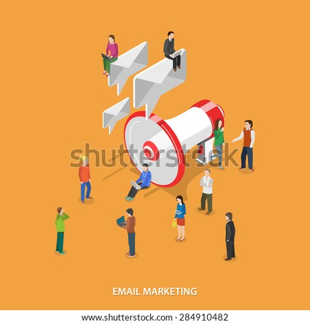 Email Marketing Flat Isometric Vector Concept. People With Mobile Devices Stand and Walks Near Megaphone Which Sends Emails Like Speech Bubbles. - stock vector