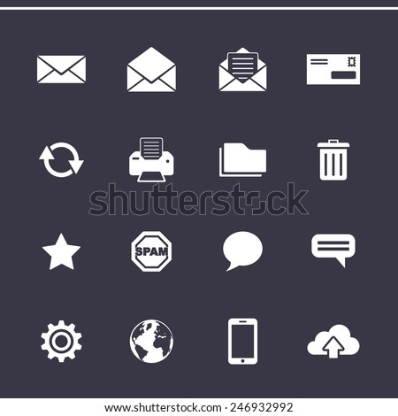 Email marketing icons. E-mail service control panel. Vector icons - stock vector