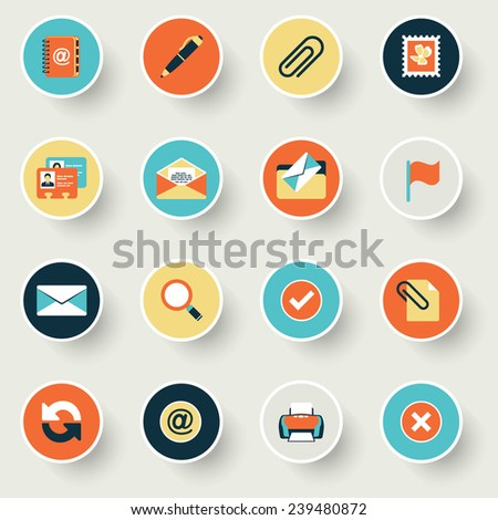 Email modern flat color icons. - stock vector