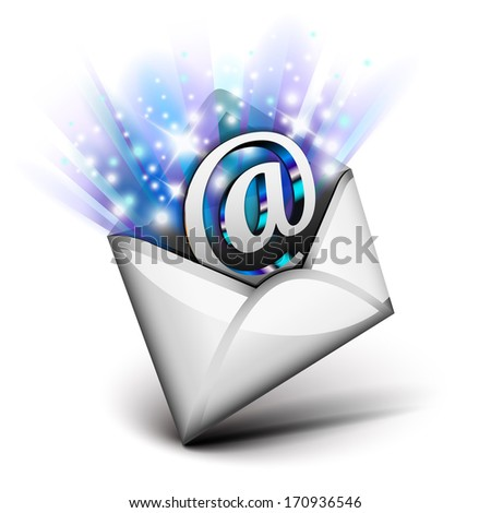 Email radiating with blue rays - stock vector