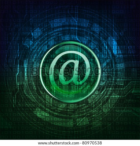 Email symbol on modern technology theme background. Eps10 layered vector file. - stock vector