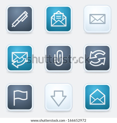 Email web icon set, square buttons - stock vector
