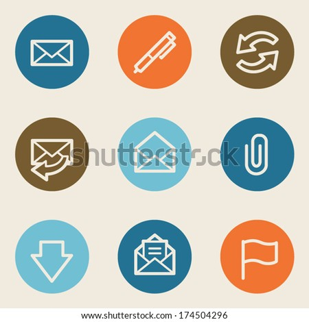 Email web icons, color circle buttons - stock vector
