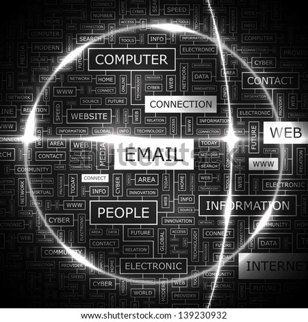 EMAIL. Word cloud concept illustration. - stock vector