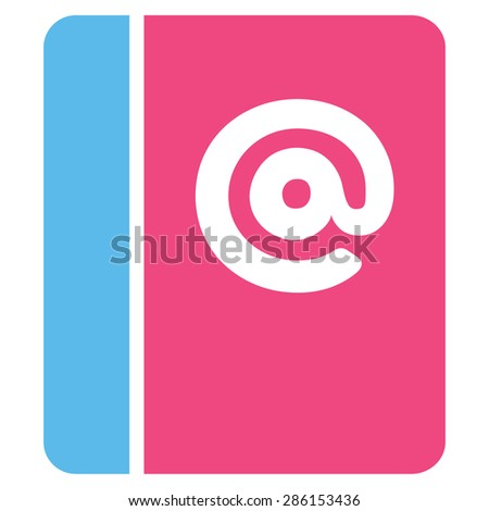 Emails icon from Business Bicolor Set. This flat vector symbol uses pink and blue colors, rounded angles, and isolated on a white background.