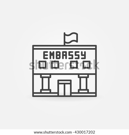 Embassy linear icon - vector government building symbol or sign in thin line style - stock vector