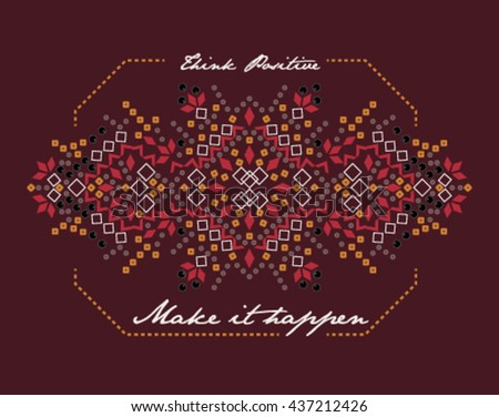 Embellishment for Fashion with Slogan   Hand made   T-shirt Printing    - stock vector