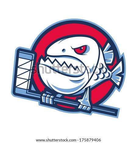 Emblem aggressive piranha holds hockey stick - stock vector