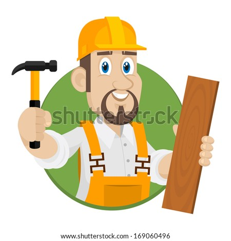 Emblem carpenter in circle - stock vector