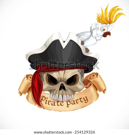Emblem for pirate party with a skull wearing a hat and a parrot cockatoo - stock vector