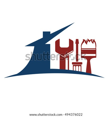 Emblem for the repair of the house, the house silhouette too