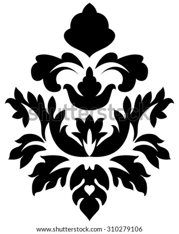 Emblem in Damask Style Over White Background. Vector Illustration.