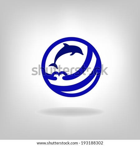 Emblem of a dolphin over the sea on a light background - stock vector