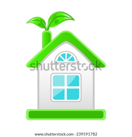 emblem of eco-friendly house with leaves on a white background - stock vector
