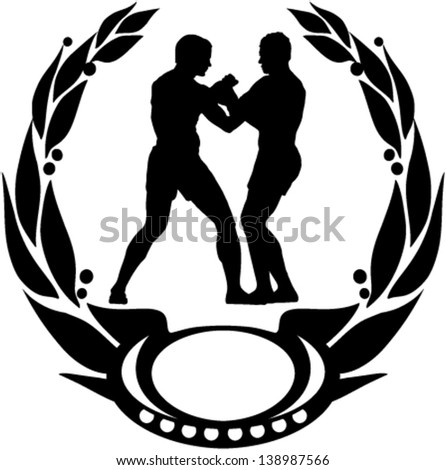 Emblem of fighting championship with place for custom text - stock vector