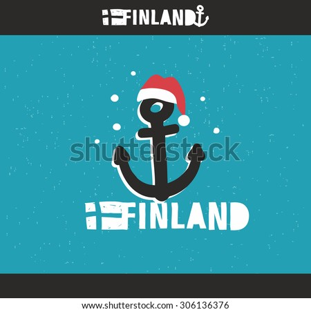 Emblem of Finland with hand drawn image in vintage style. Vector doodle illustration. - stock vector