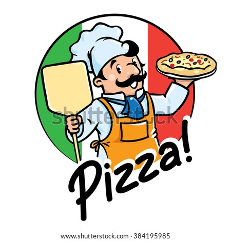 emblem funny cook baker pizza stock photo photo vector rh shutterstock com cartoon pizza logo youtube cartoon pizza logo playhouse disney logo