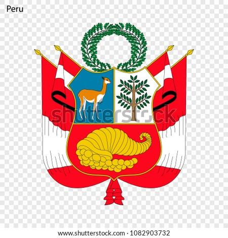 Emblem Peru National Symbol Stock Vector 1082903732 Shutterstock