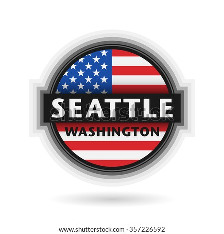 Emblem or label with name of Seattle, Washington, vector illustration - stock vector